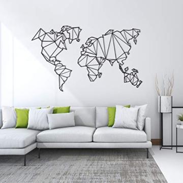 Homemania Decorazione da Parete Mappamondo Nero, in Metallo. Arte Casa Decoro. per Soggiorno, Ufficio, Muro, Planisfero, Taglia Unica - 3