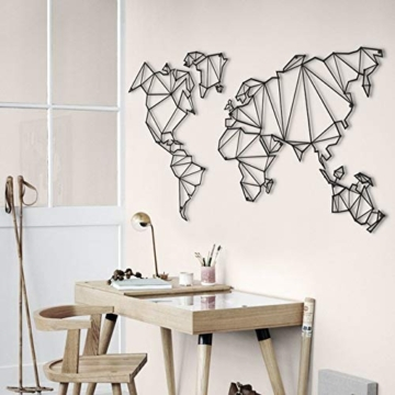Homemania Decorazione da Parete Mappamondo Nero, in Metallo. Arte Casa Decoro. per Soggiorno, Ufficio, Muro, Planisfero, Taglia Unica - 5
