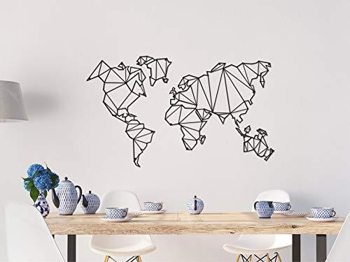 Homemania Decorazione da Parete Mappamondo Nero, in Metallo. Arte Casa Decoro. per Soggiorno, Ufficio, Muro, Planisfero, Taglia Unica - 1