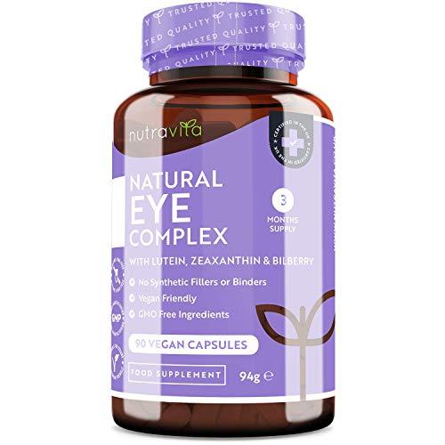 Integratore occhio - luteina, zeaxantina, estratto di mirtillo, vitamine A, B12 e zinco - Il mantenimento della normale capacità visiva - 90 capsule vegane - 3 mesi di scorta - Prodotto da Nutravita - 1