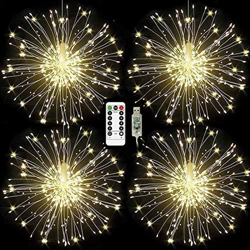 ISUDA Luci Fatate Natalizie LED Luce Fata Luce Stringa USB 5M Catena Luminosa + 3M Cavo Prolunga Decorative Giardino, Casa, Natale, Feste, Matrimonio - 4 Pezzi di 102 LED Lampadine - 1