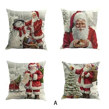 Jimmackey 4pc Natale Federa Pupazzo di Neve Decor Letto Auto Cuscino Copertina Santa Caso Cuscini Vita (A, 45cm*45cm/18