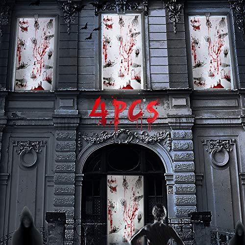 Joyjoz Halloween Decorazioni Porte 4PCS Halloween Horror Poster per Finestre Scheletro Sanguinante Raccapricciante Adesivi Horror Decorazione per Feste di Halloween Case Stregate - 1
