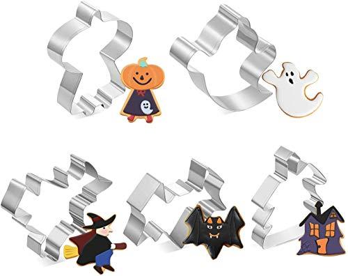 joyoldelf Formine Biscotti Halloween Set di 5 Stampi Biscotti Halloween, Acciaio Inox, per Biscotti Frutta Torta Festa Halloween (Nero) - 1