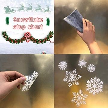 KATELUO 190 Pezzi Adesivo Fiocco di Neve Natale,Natale Fiocchi di Neve Finestra,Natale Decorazione PVC Vetrofanie,Adesivi con Fiocchi di Neve Bianchi Fiocchi per la casa riutilizzabili Rimovibili Fai - 4