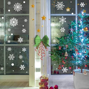 KATELUO 190 Pezzi Adesivo Fiocco di Neve Natale,Natale Fiocchi di Neve Finestra,Natale Decorazione PVC Vetrofanie,Adesivi con Fiocchi di Neve Bianchi Fiocchi per la casa riutilizzabili Rimovibili Fai - 5