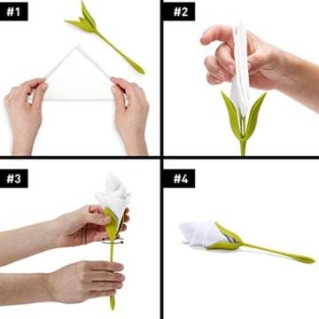 Katherinabait portatovaglioli Portatovaglioli Fiori Floral Flower Napkin Holder,16pcs Portatovaglioli a Forma di Fiore - 3
