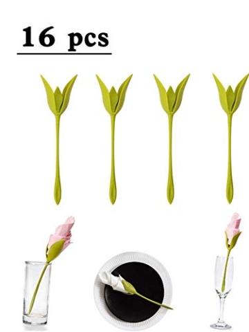 Katherinabait portatovaglioli Portatovaglioli Fiori Floral Flower Napkin Holder,16pcs Portatovaglioli a Forma di Fiore - 1