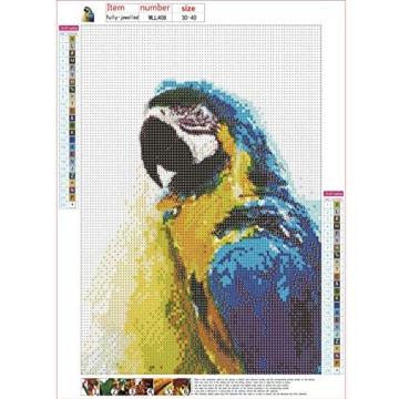 Kit per pittura con diamantini fai da te,diamant painting completo di trapano 5D, kit completo per la decorazione della casa, decorazione da parete con pappagallo, 30 x 40 cm - 2