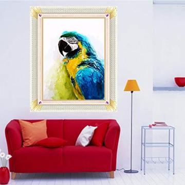 Kit per pittura con diamantini fai da te,diamant painting completo di trapano 5D, kit completo per la decorazione della casa, decorazione da parete con pappagallo, 30 x 40 cm - 5