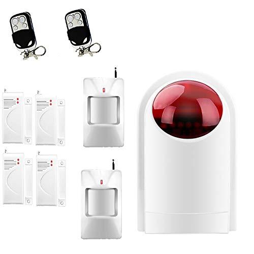 Kit sistema di sicurezza allarme domestico ECTECH - Sistema antifurto senza fili con unità flash sirena - 4 sensori per porta finestra, 2 sensori di movimento PIR e 2 telecomandi - 1