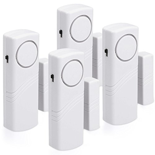 kwmobile allarme per porte e finestre - set da 4 dispositivi antifurto wireless sicurezza casa - sensore magnetico acustico con batterie incluse - 1
