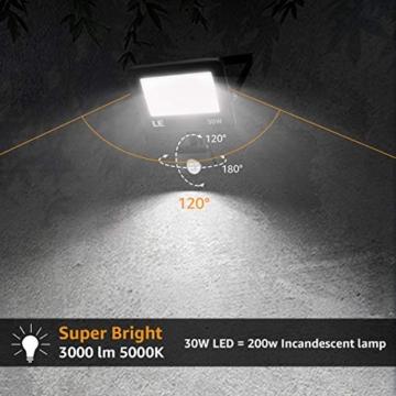 LE Faretto LED da Esterno con PIR Sensore di Movimento, 30W 3000 lumen Bianco Diurno 5000K, Proiettore Faretto da Esterno Impermeabile IP65 per Giardino, Corridoio, Illuminazione Interna ed Esterna - 5