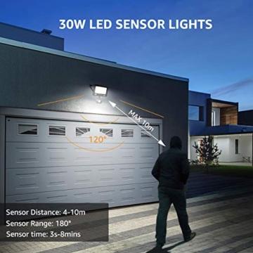 LE Faretto LED da Esterno con PIR Sensore di Movimento, 30W 3000 lumen Bianco Diurno 5000K, Proiettore Faretto da Esterno Impermeabile IP65 per Giardino, Corridoio, Illuminazione Interna ed Esterna - 7