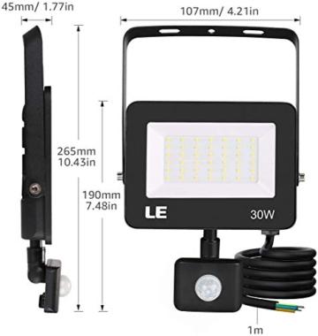 LE Faretto LED da Esterno con PIR Sensore di Movimento, 30W 3000 lumen Bianco Diurno 5000K, Proiettore Faretto da Esterno Impermeabile IP65 per Giardino, Corridoio, Illuminazione Interna ed Esterna - 8