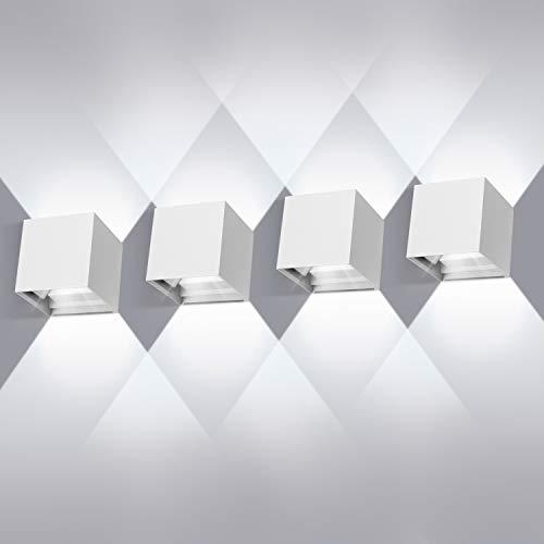 LEDMO 12W*4Lampade da Parete per Interni/Esterno LED Moderno, Applique da Parete Muro in Alluminio Angolo,Lampada Muro su e Giù Regolabile Design IP65 Impermeabile 6000K Bianco - 1