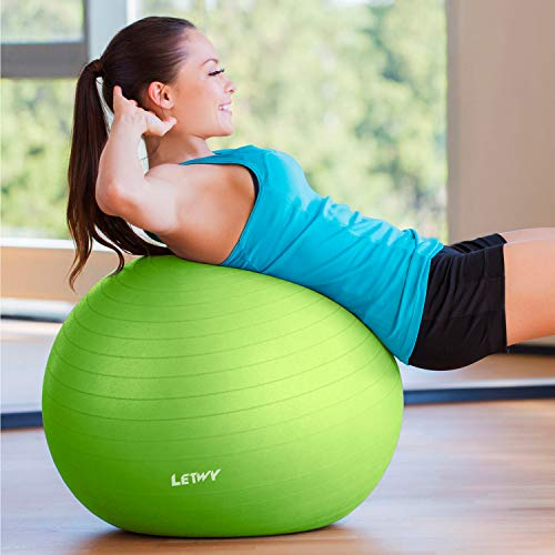 LETWY Palla Fitness   75 cm, Verde   Nuova Versione 2020 con Poster Esercizi-Ginnastica, Fitball Fit Balls, Gymball Pilates, Yoga, Attrezzi Palestra Casa - 1