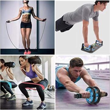Aurorast Fitness Workout Set 4 Pezzi- Elastici Fitness | Push-up Board 13 in 1| AB Wheel Roller Addominali con Tappetino | Corda per Saltare, Attrezzi Palestra per casa - 7