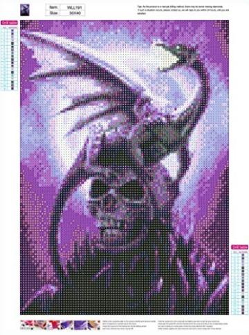 MXJSUA fai-da-Te Diamante 5D Pittura Kit Completo Trapano Tondo Strass Immagine Arte del mestiere per la Decorazione della Parete di casa 30x40 cm Scheletro Viola Fantasma e Drago - 2