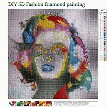 MXJSUA Pittura Diamante 5D Fai-da-Te con Kit numerici Trapano Tondo Pieno Immagine di Strass Artigianato per la Decorazione della Parete di casa Marilyn Monroe 30x30 cm - 5