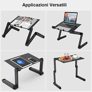 Nestling® Portable Laptop Desk Pc Sofa Stand Air Space Desk Supporto per Laptop Tavolo Pieghevole Tavolo per Laptop con Vassoio per Mouse Rimovibile e Barra Antiscivolo - 2