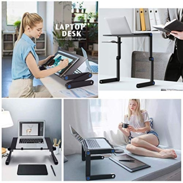 Nestling® Portable Laptop Desk Pc Sofa Stand Air Space Desk Supporto per Laptop Tavolo Pieghevole Tavolo per Laptop con Vassoio per Mouse Rimovibile e Barra Antiscivolo - 4