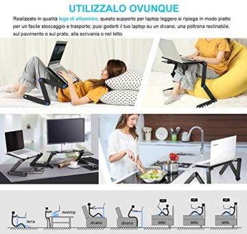 Nestling® Portable Laptop Desk Pc Sofa Stand Air Space Desk Supporto per Laptop Tavolo Pieghevole Tavolo per Laptop con Vassoio per Mouse Rimovibile e Barra Antiscivolo - 6