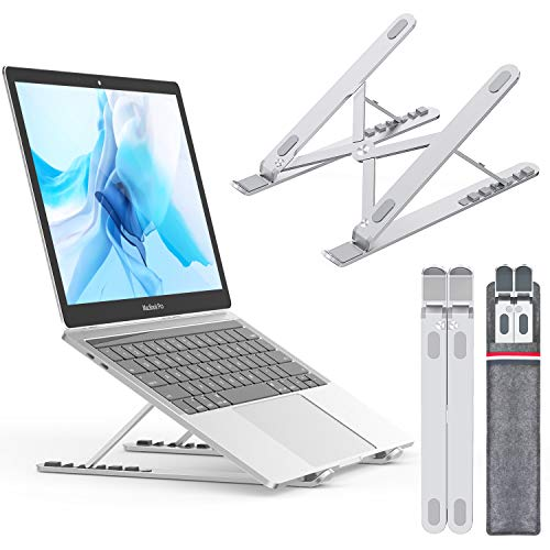 Nulaxy Supporto PC Portatile, Angolazione Regolabile Pieghevole Antiscivole e Stabile in alluminio, Per Mac Book Pro/Huawei Matebook/MacBook Air/Notebook/iPad Laptop Stand Fino a 17.3 Pollici - Bianco - 1