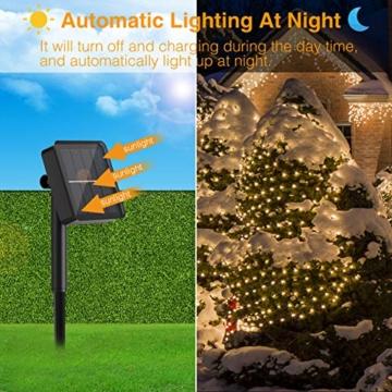 [2 Pacchi] Catena Luminosa Esterno Solare, Hepside 12m 120 LED Luci Solari Esterno 8 Modalità Impermeabile Filo di Rame Luci energia Solari Decorativa Per Giardino Patio Natale Festa, Bianco Caldo … - 5