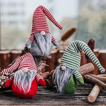 Oggettistica Natalizia Gnomo di Natale 17Cm Decorazione Natalizia a Forma di Gnomo Svedese Natalizio Alce di Stoffa Coppia Folletti Babbo Natale di Peluche Christmas Regalo Creativo Xmas (GrigioE) - 2