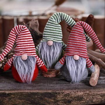 Oggettistica Natalizia Gnomo di Natale 17Cm Decorazione Natalizia a Forma di Gnomo Svedese Natalizio Alce di Stoffa Coppia Folletti Babbo Natale di Peluche Christmas Regalo Creativo Xmas (GrigioE) - 4