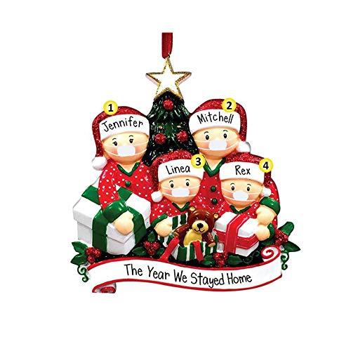 Ornamento di Albero di Natale,2020 Ornamento di Natale, Ornamento di famiglia sopravvissuto, Ornamenti appesi fai-da-te per l'albero di Natale Decorazioni per la casa Regali di Natale (Family Of-4) - 1