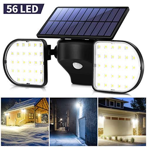 OUSFOT Luce Solare LED Esterno Lampada Solare da Parete con Pannello 56 LED Impermeabile Luci Solari Sensore di Movimento Sicurezza Faretti Solari Garage - 1