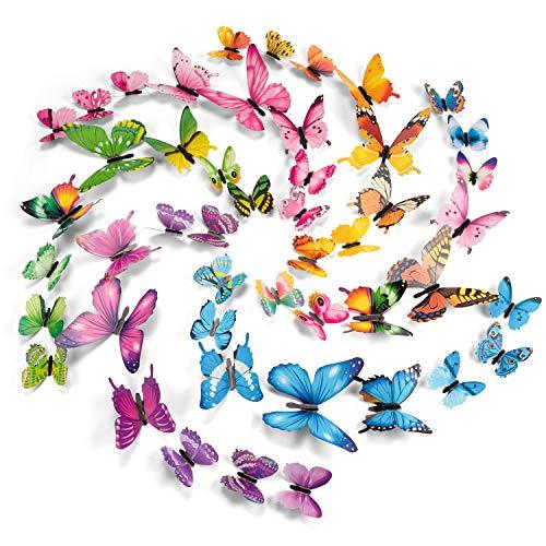 PGFUN 72 Pezzi 6 Colori 3D Luminosa Farfalle Adesivi Murale Arte Adesivo Murali per Domestica Bambini Camera Da Letto Decorazione casa(Giallo,Verde,Blu,Rosa,Viola,Multicolore) - 1