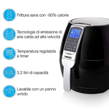 Princess Friggitrice ad Aria Calda XL 182020, 1500 W, 3.2 Litri, Plastica-BPA Free, Nero/Argento - 5