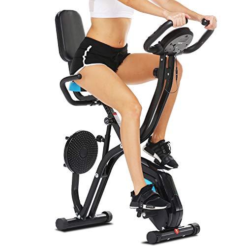 Profun Esercizio di Bicicletta Fitness Bici Spinning Bike Cyclette per Casa 2 in 1, Cyclette con Resistenza Magnetica Regolabile a 10 Livelli e Fasce da Allenamento, Indoor Cycling Bike con App - 1