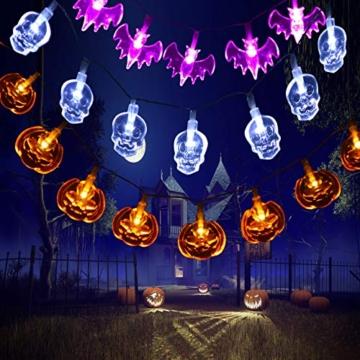 Qxmcov Luci della Festa di Halloween, 3 Pezzi 30 LED Halloween Catena Luminosa Luce Decorative, Zucche Arancioni, Pipistrelli Viola, Fantasmi Bianchi, per Halloween, Festa Cosplay e Casa Dell'Orrore - 6