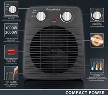 Rowenta SO2210 Compact Power Termoventilatore Potente e Compatto, Riscalda e Raffredda Gli Ambienti, Ottimo per Qualsiasi Stagione, 2000 W, 220 V, Nero - 7