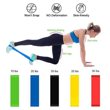 Aurorast Fitness Workout Set 4 Pezzi- Elastici Fitness | Push-up Board 13 in 1| AB Wheel Roller Addominali con Tappetino | Corda per Saltare, Attrezzi Palestra per casa - 6