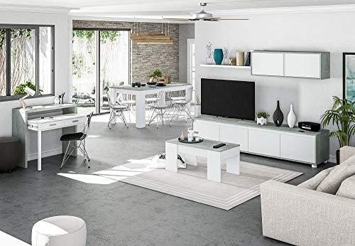 Salone Negozio Online Kit Mobile Parete ATTREZZATA Alida 41X200X43H Bianco/Cemento - 1