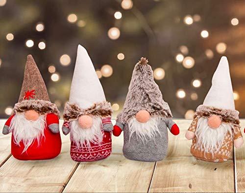 Set da 4 Oppure 8 Simpatici Folletti di Natale. Decorazione Natalizia. Idea Regalo Natale. Gnomi Folletti scandinavi Altezza cm 20 (4 Folletti) - 1