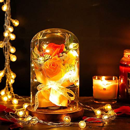 shirylzee La Bella e La Bestia Rosa Eterna Fiore Artificiale Luce di Vetro Rosa Cupola Luce a LED Lampada Decorazioni Regalo per San Valentino, Festa Mamma, Decorazioni per la Casa (Arancia) - 1