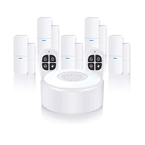 Sistema di sicurezza domestica wireless, impianto di allarme completo con 1 sirena, 5 sensori per porte e finestre e 2 telecomandi, tramite app - 1