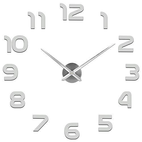 SOLEDI Orologio da Parete Silenzioso Preciso Fai da Te 60-120cm Facile da Montare Effetto 3D Riempire Vuoto Parete Moderno Adesivo Orologio Parete Decorazione per Casa, Ufficio, Hotel (Argento/Nero) - 1