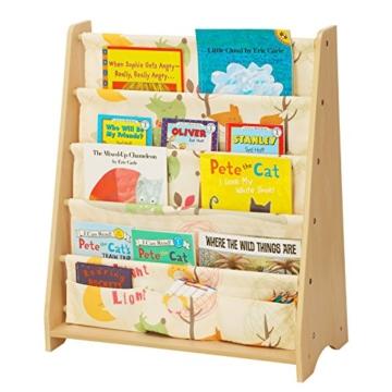 Songmics GKR71YL - Scaffale a 4 Livelli in Tessuto per Bambini, Finitura Acero, Multicolore, 62 x 28 x 72 cm - 2