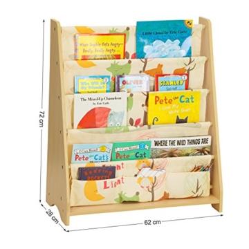 Songmics GKR71YL - Scaffale a 4 Livelli in Tessuto per Bambini, Finitura Acero, Multicolore, 62 x 28 x 72 cm - 3