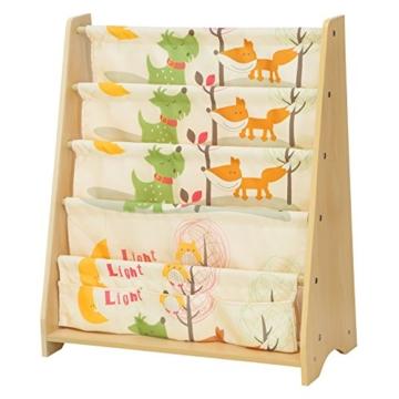 Songmics GKR71YL - Scaffale a 4 Livelli in Tessuto per Bambini, Finitura Acero, Multicolore, 62 x 28 x 72 cm - 1