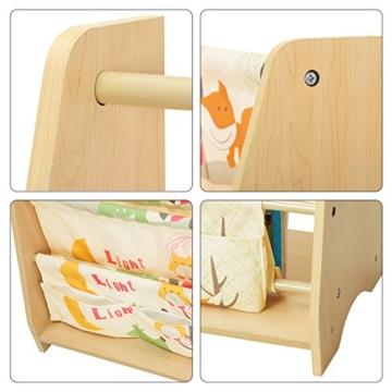 Songmics GKR71YL - Scaffale a 4 Livelli in Tessuto per Bambini, Finitura Acero, Multicolore, 62 x 28 x 72 cm - 5