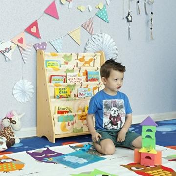 Songmics GKR71YL - Scaffale a 4 Livelli in Tessuto per Bambini, Finitura Acero, Multicolore, 62 x 28 x 72 cm - 7