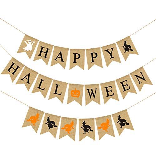 SOONHUA Set di Decorazioni per La Festa di Halloween Banner di Halloween Felice Set di Banner di Halloween Halloween Felice per Forniture Bar Arredamento Casa di Halloween - 1